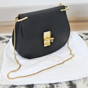 Chloe Small Drew Black Leather Shoulder Bag